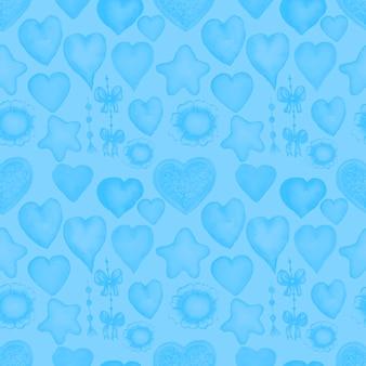 Сердца акварель рисованной патерн бесшовные