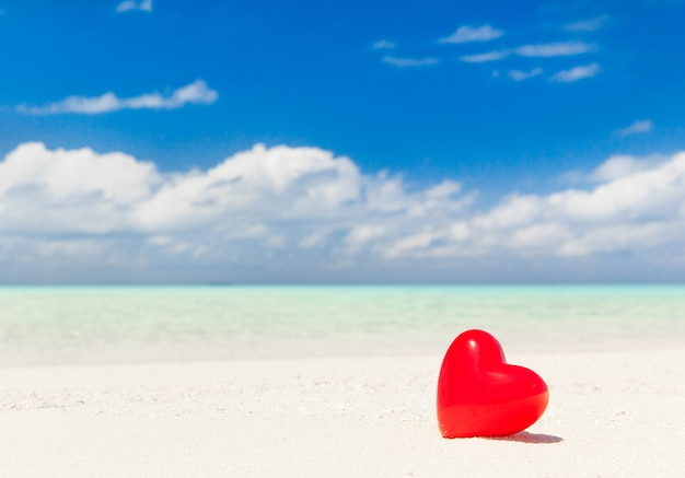 Hearts with tropical beach in maldives