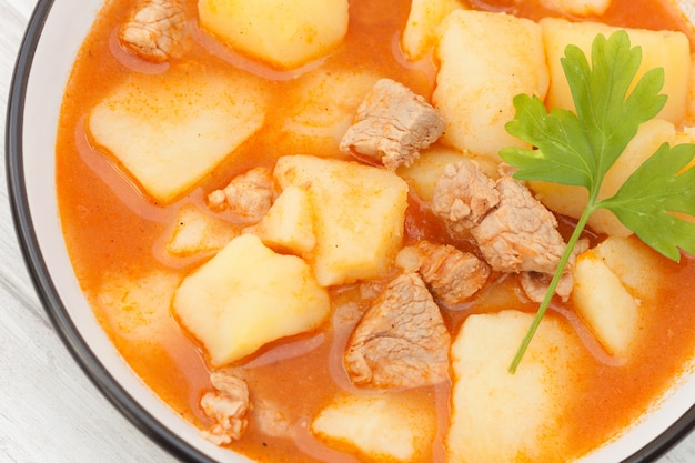 Hearty beef stew simmering