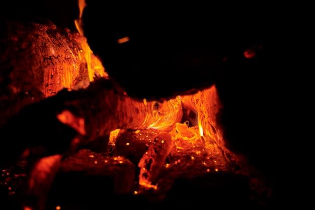 暗闇の中で丸太や石炭を燃やすことによる熱