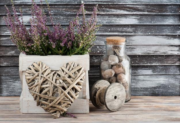 ピンクのheat、wの心、木製の装飾