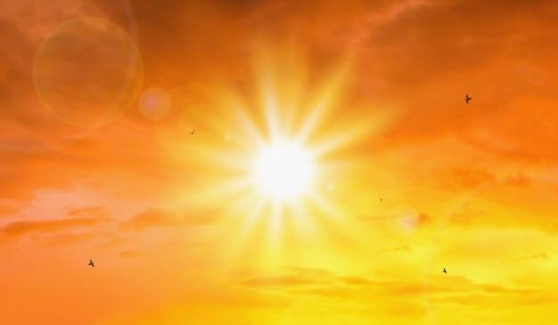 Жара сильного солнца и неба