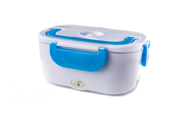 Heated lunch box for carrying and storing food. white background. close-up. isolated.