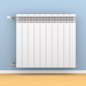 Heating radiator on wall