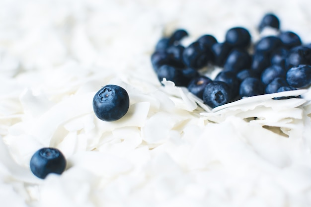 Heavenly coconut flakes with blueberries