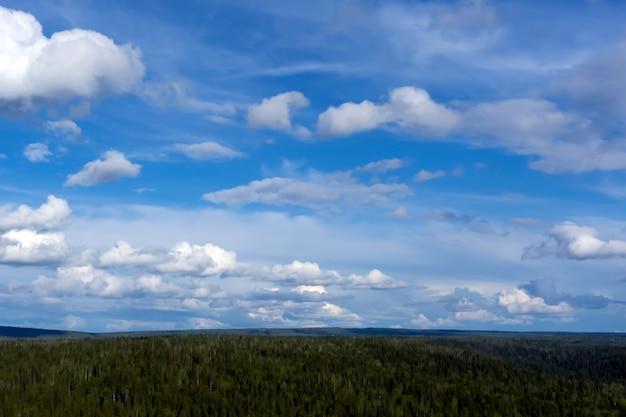 하늘 풍경 - 조감도가 있는 숲이 우거진 구릉지 위에 구름이 있는 푸른 하늘