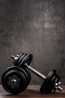 Heavy black dumbbells