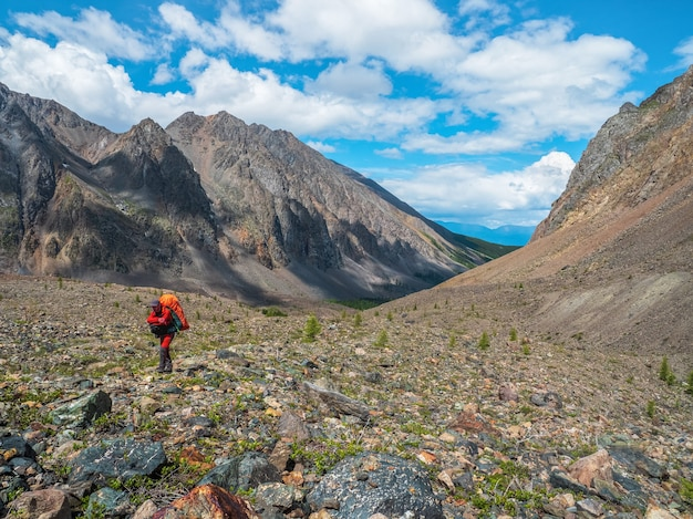 バックパックを背負って山に登る。旅行のライフスタイル、ハードトラックのハイキング、夏休みの冒険のコンセプト。