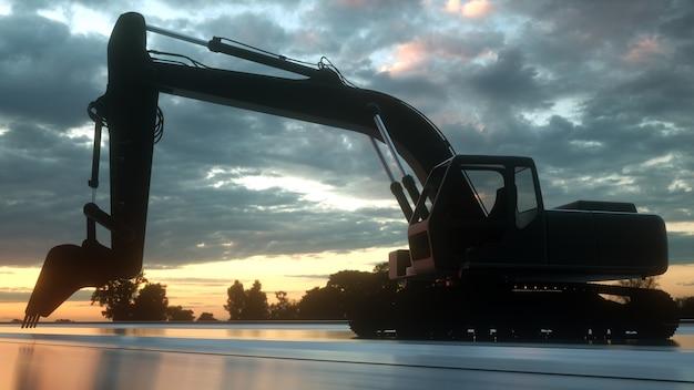 オレンジ色の夕日の背景に重い掘削機