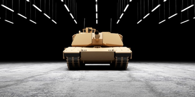 Heavy military tank on concrete floor at hangar with lamps illumination