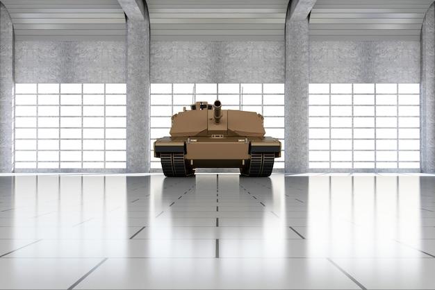 大きな窓を備えた現代の格納庫の重い軍用戦車