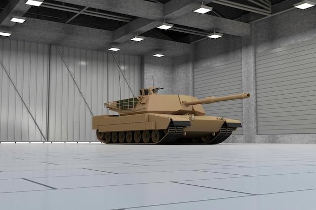 現代の格納庫の重い軍用戦車