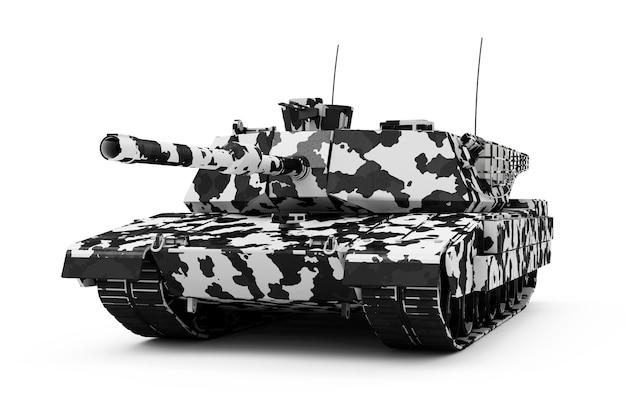 Тяжелый военный танк в зимнем камуфляже, изолированные на белом фоне