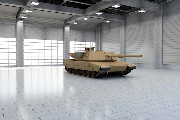 Heavy military tank in modern hangar with large windows