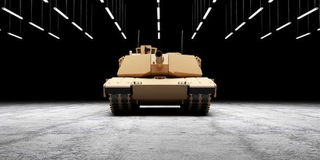 Тяжелый военный танк на бетонном полу в ангаре с освещением ламп