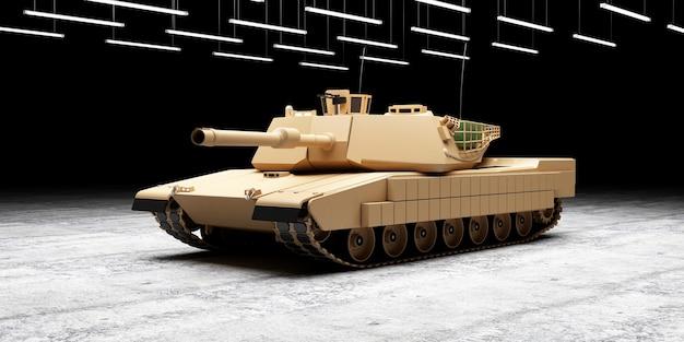 Тяжелый военный танк на бетонном полу в ангаре с лампами освещения