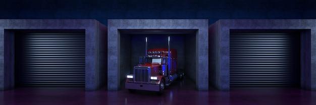롤업 도어 3d 렌더링이 있는 대형 트럭