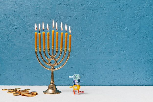 Hebrew candlestick holder burning