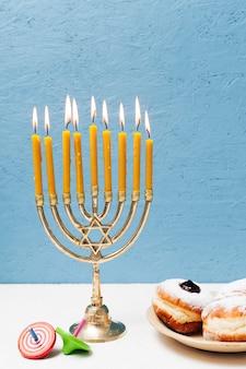 Hebrew hanukkah candlestick holder