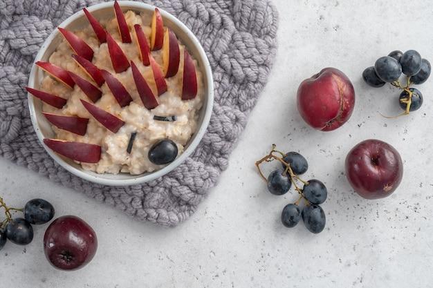 Ежик каша овсяный завтрак, food art for kids
