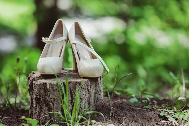 Heeled shoes on a stump