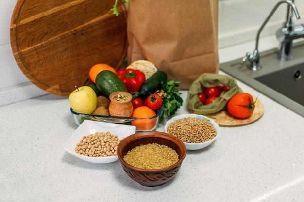Heirloom heritage ancient grains, fresh vegetables, greens