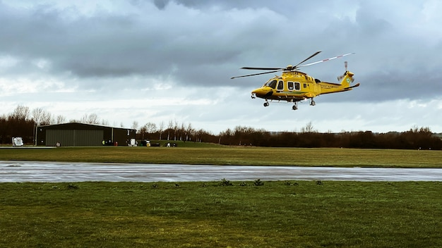 Helicopter aw169 flying low