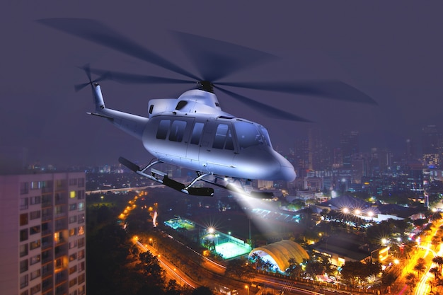 Helicopter flying over the city