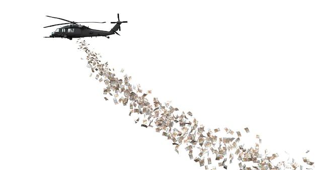 Вертолет раздает деньги в евро. 3d визуализация.