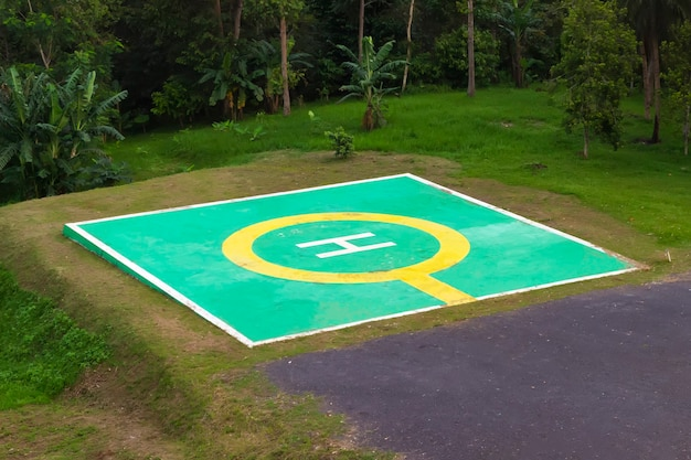 Helicopter landing pad, helipad in the forest