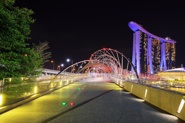 The helix bridge at night in singapore