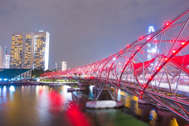 Helix bridge at night in singapore