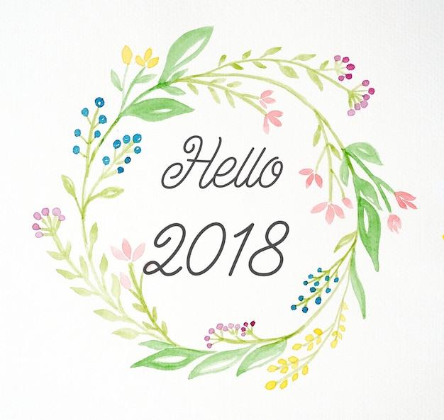 こんにちは2018年白い紙の背景の上に水彩スタイルの花の花輪を手塗りに