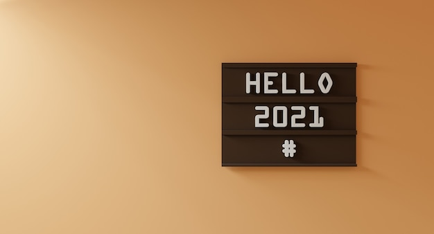 Hello 2021 concept on brown wood scene attached to the orange cream wall - 3d rendering