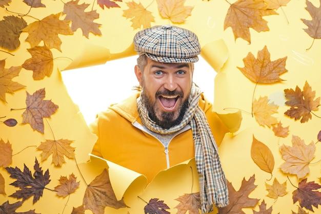Hello autumn. bearded man are getting ready for autumn sale. men fashion autumn. close-up portrait.