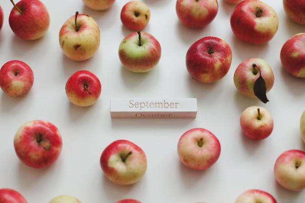 Привет осенняя открытка со свежими красными яблоками на белом фоне, вид сверху