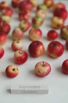 白い背景の上面図に新鮮な赤いリンゴとこんにちは秋のカード