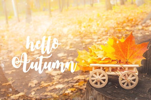 Hello autumn lettering card.