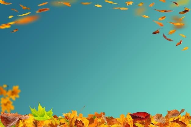 こんにちは秋のオレンジと黄色の背景イラスト