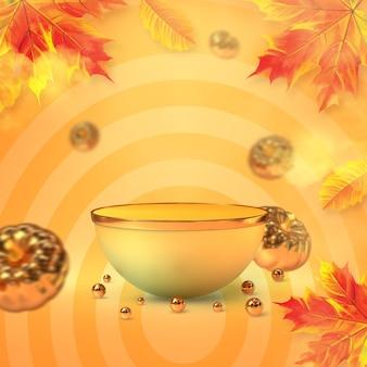 황금 호박과 단풍나무 잎 3d 렌더링이 있는 가을 연단 디스플레이
