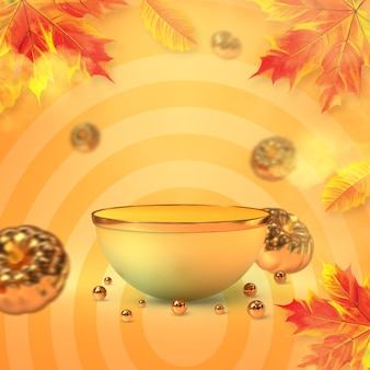 Hello autumn podium display with gold pumpkin and maple leaves 3d rendering