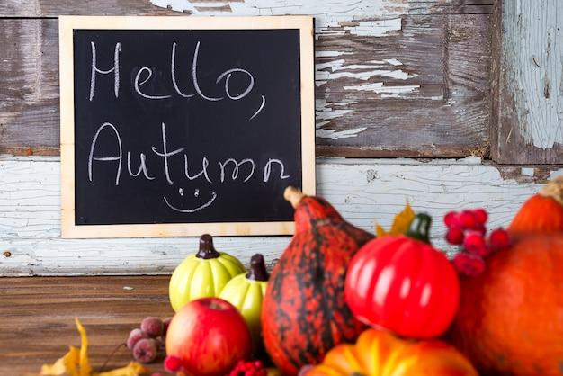 Hello autumn sign on board