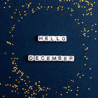 Ciao dicembre, citazione con perline