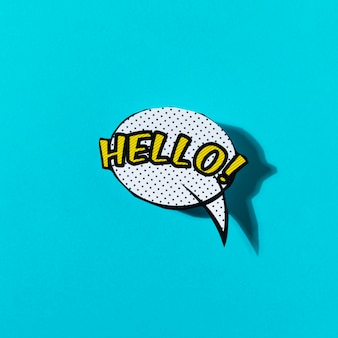 Hello lettering text in a speech bubble on turquoise backdrop