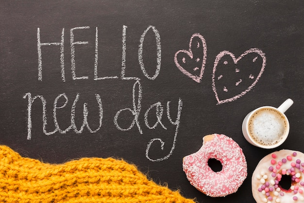 Hello new day with doughnut and coffee