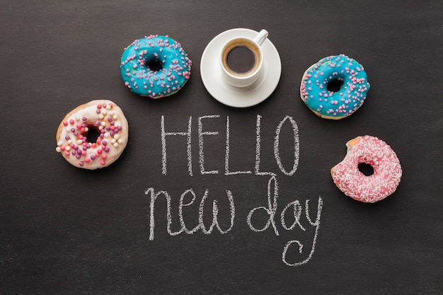 Hello new day with doughnut collection