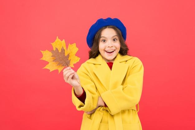 Привет октябрь. маленькая девочка добро пожаловать осень. малыш девушка милое лицо держать кленовый лист. наслаждайтесь сезоном. ребенок с осенними желтыми листьями. изменения климата. наступила осень. маленькая девочка падает наряд красный фон.