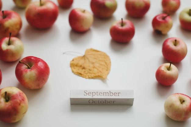 Привет сентябрь осенняя открытка со свежими красными яблоками на белом фоне вид сверху