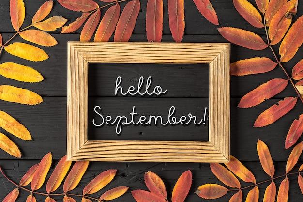 Hello september lettering card.