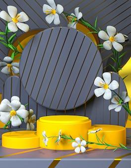 안녕하세요 봄 고급 연단 무대 디스플레이 제품 프레젠테이션 3d 렌더링 배경